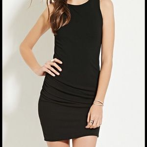 Forever 21 black ruched tank dress - size small!